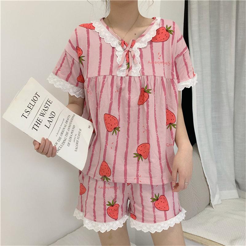 Alien Kitty alta calidad arco fresa impreso Chic 2020 Rosa nuevo Retro lindo dulce estilo Vintage pijamas trajes ropa de hogar