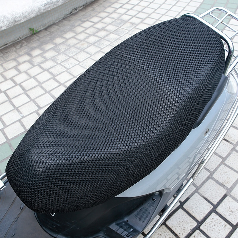 XXXL New Black Breathable Summer 3D Mesh Motorcycle Seat Cover Sunscreen Anti-Slip Waterproof Cushion Protect Net Case