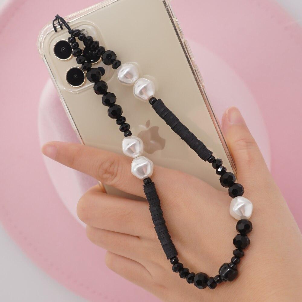Chaîne de téléphone en perles baroques, 32cm, pour hommes et femmes, étui de téléphone, lanière, porte-clés, bijoux Vintage faits à la main
