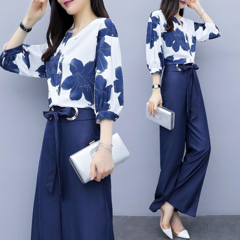 Primavera Verano mujeres de gasa trajes 2 conjuntos de dos piezas blusa Top traje con pantalones con pernera ancha elegante Oficina señoras trajes Pantsuit ropa