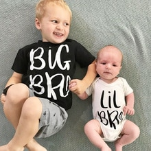 Big Bro and Lil Bro Brother Family Look Tshirt and Rompers Kids Baby Boys Matching Tshirt Brother Wh