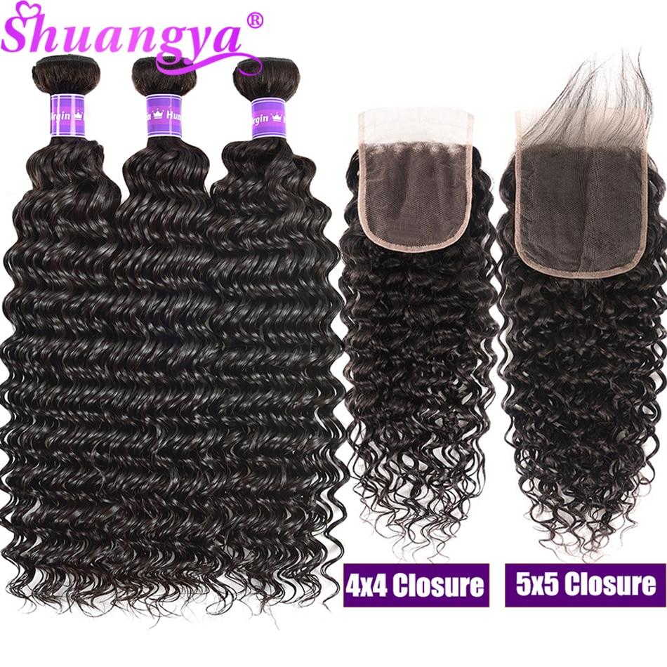 Fasci di onde profonde malesi dei capelli di Shuangya con chiusura fasci di capelli umani al 100% con chiusura 4x4 chiusura in pizzo 5X5 HD con fasci