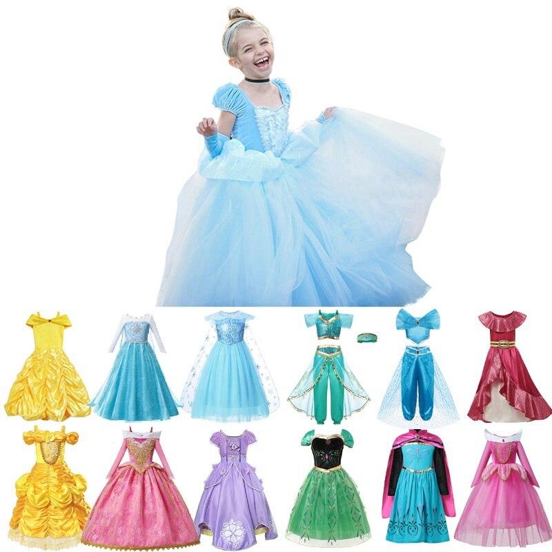 MUABABY 25 Styles Princess Fancy Dress Up for Girls Elsa Anna Sofia Cinderella Snow White Aurora Jasmine Halloween Party Costume
