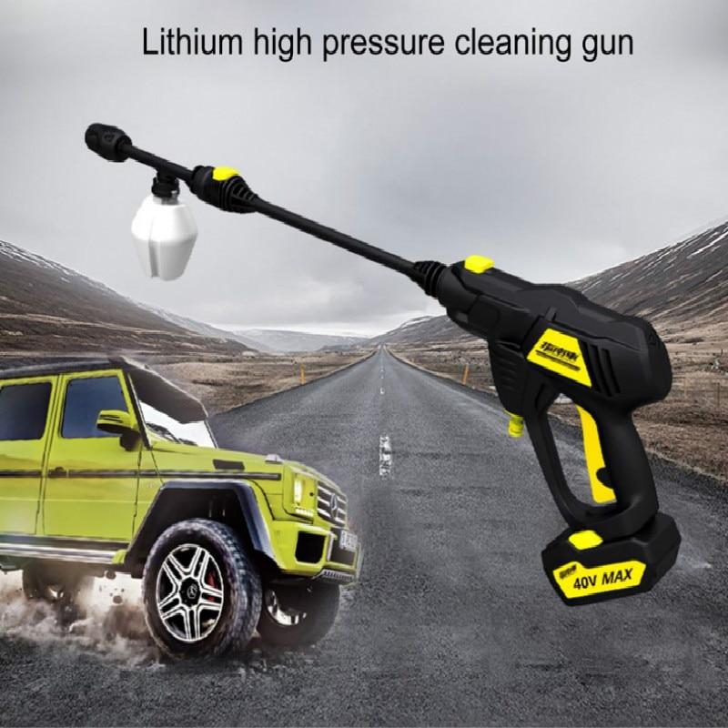مسدس ماء محمول عالي الضغط لغسيل السيارات وتنظيف النوافذ وبطارية ليثيوم قابلة لإعادة الشحن
