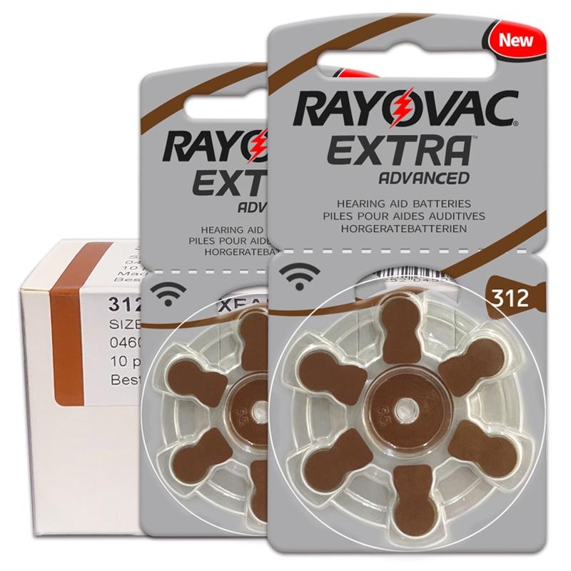 60 PCS/1 box Hearing Aid Batteries RAYOVAC EXTRA-A312/312/PR41 Zinc Air batterie 1.45V Size 312 Diameter 7.9mm Thickness 3.6mm