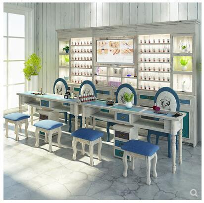 طاولة مانيكير على الطراز الأمريكي من خشب البحر الأبيض المتوسط المصمت ومجموعة كرسي ، طاولة مانيكير فردية أو مزدوجة باللونين الأزرق والأبيض