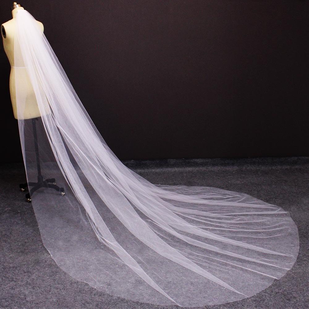 Velo largo de tul suave con peine elegante 3 M blanco marfil Catedral velo de novia 3 metros velo para novia accesorios de boda