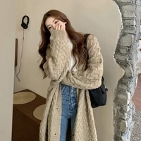 muyogrt vintage midi cardigan tops sweaters woman fall winter 2021 new knitted jackets v neck single breasted loose long coats