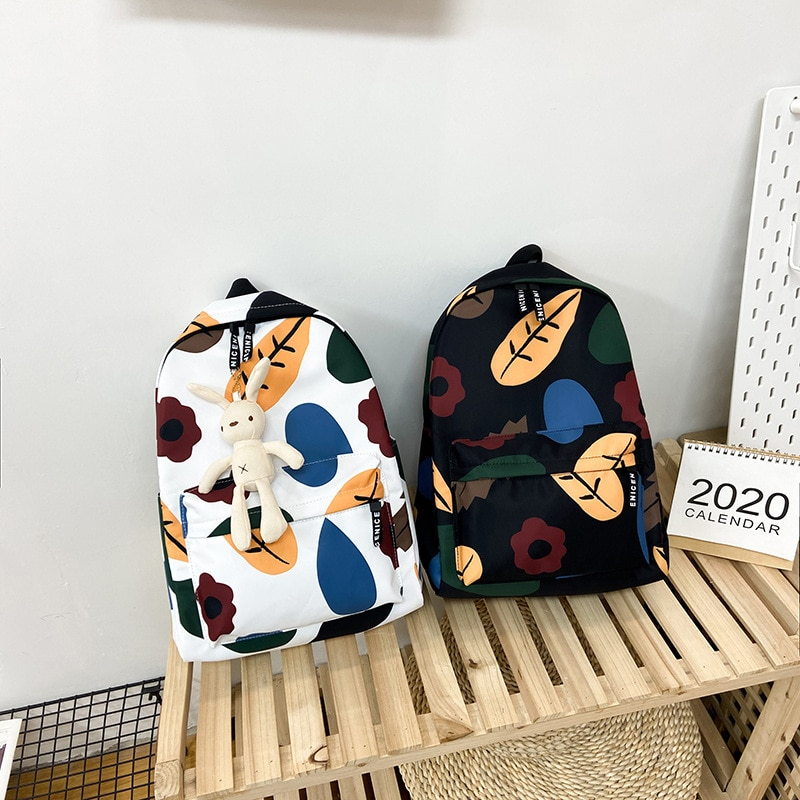 Schoolbag Female Ins Style Korean College Student Backpack Mori Hyuna Style Printed Graffiti Small Backpack  Bags for Women