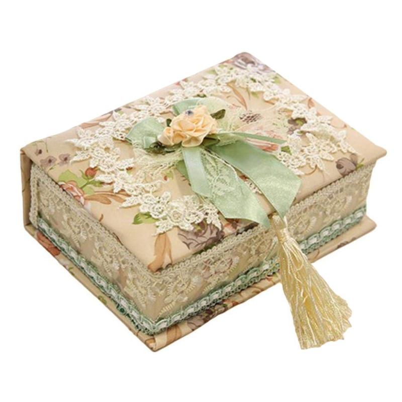 Горячая продажа шкатулка для ювелирных изделий DIY в форме книги коробка для хранения в форме сердца кружевная ткань Подарочное кольцо серьг...