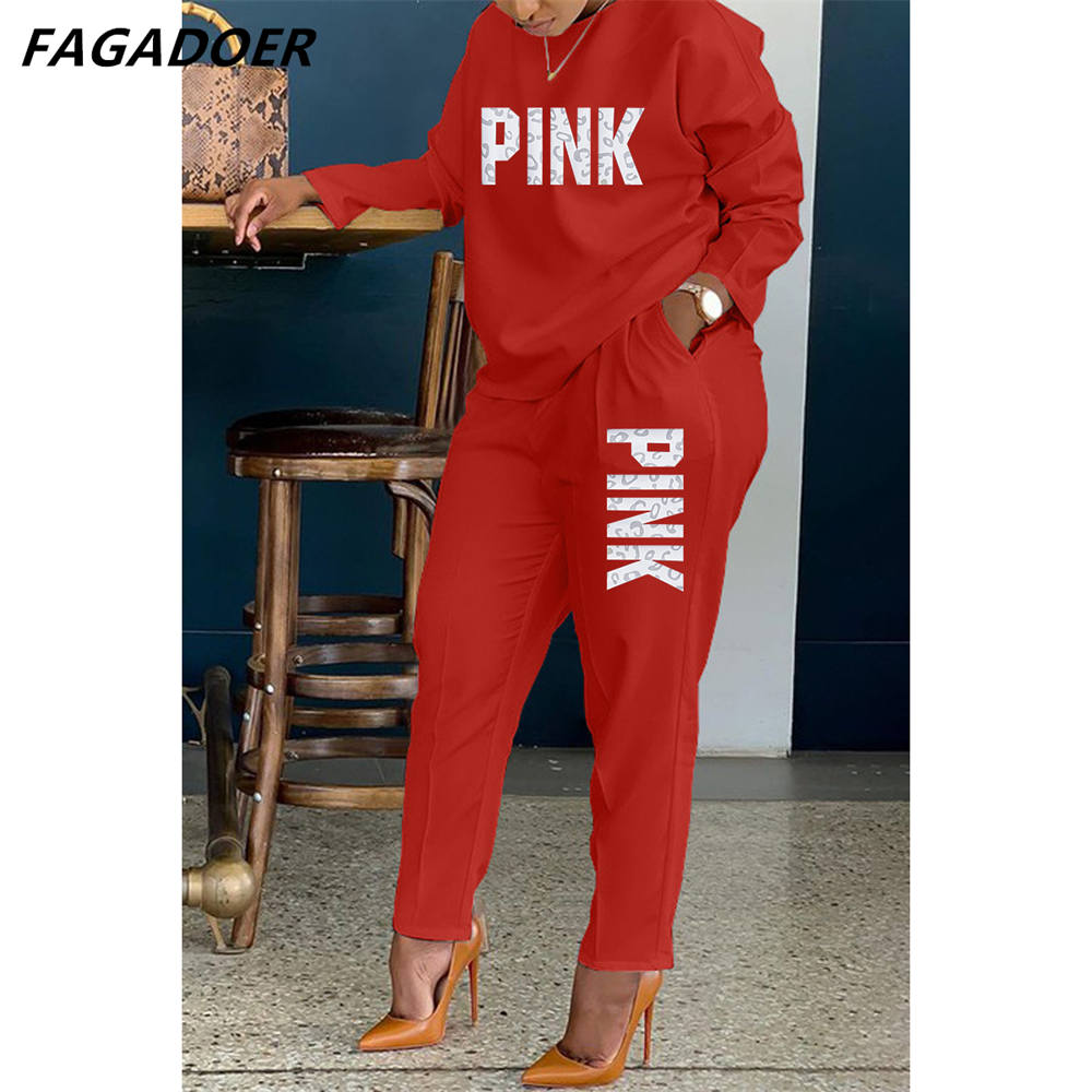 FAGADOER 긴 소매 여성 두 조각 솔리드 Tracksuits 핑크 편지 인쇄 O 넥 셔츠 & 캐주얼 슬림 바지 세트 Tracksuits 의상