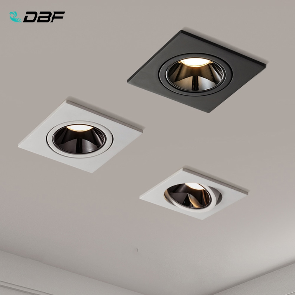 [DBF]2020 Angle Adjustable Anti-glare Square LED COB Recessed Downlight 7W 12W LED Ceiling Spot Light Kitchen Living room Indoor
