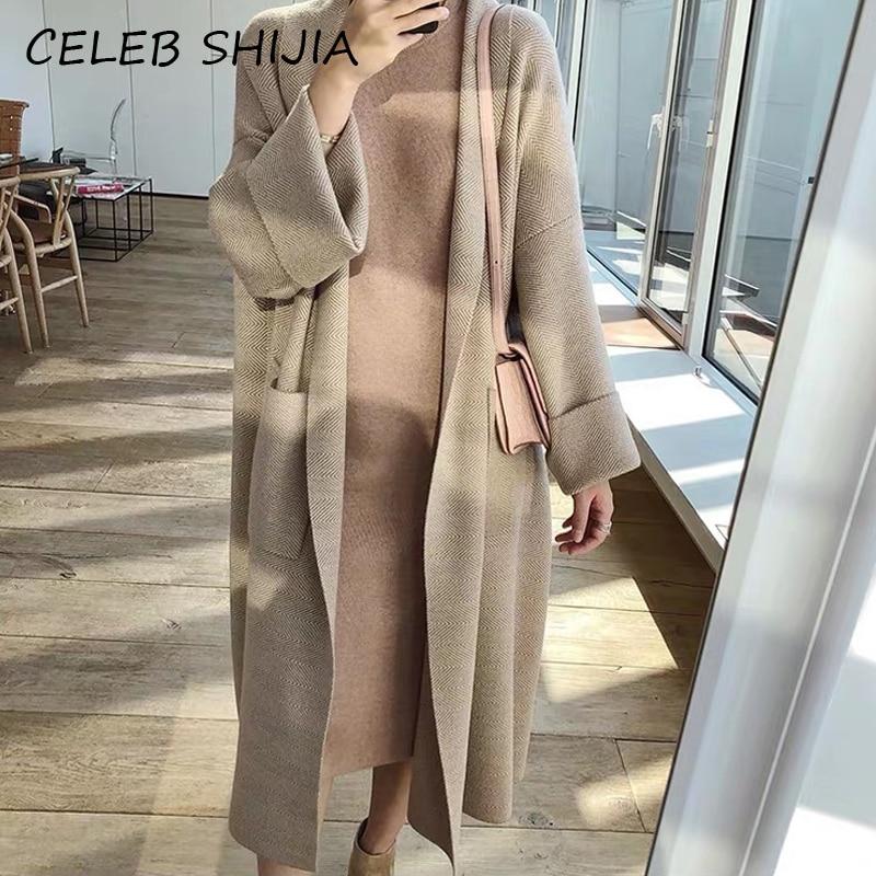 2020 nova casual bolso feminino cardigan camisola longa jumper malha cardigan feminino listrado ponto aberto camisola casaco outono inverno
