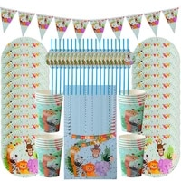 cyuan birthday party boy jungle zoo party disposable set kids party paper plate cup napkin supplies birthday decoration for boy
