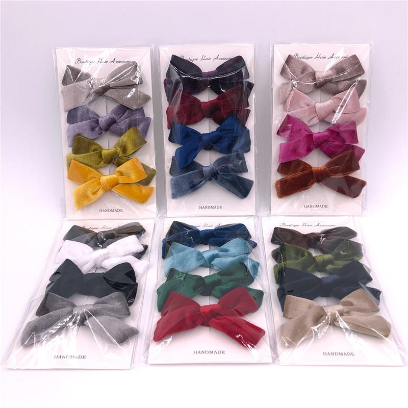 4pcs/Lot Baby Headband Velvet Bow Hair Clips For Girls Hairpins kid Toddler Pins Children Clips Barrettes Hair Accessories Nylon