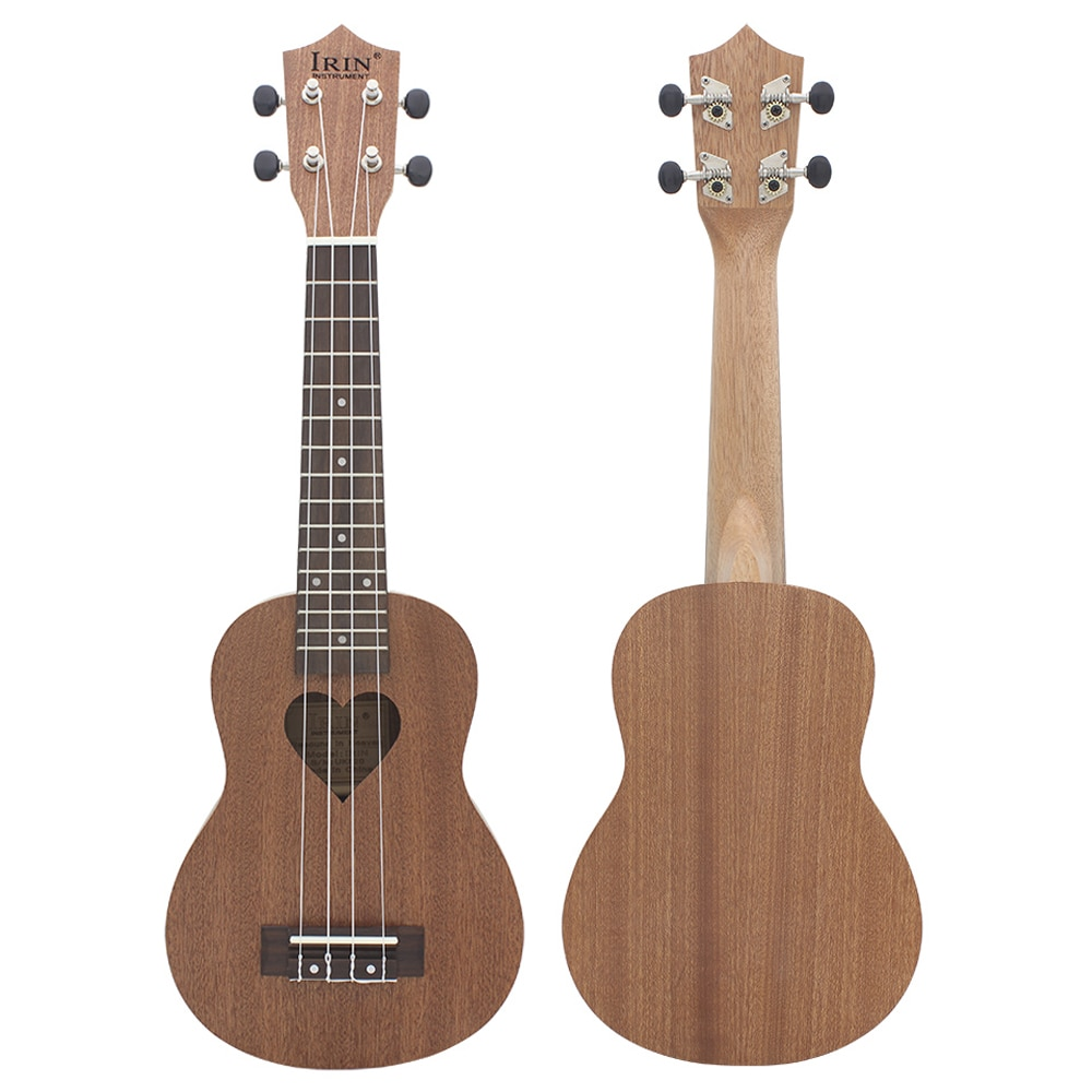 21 Inch Ukulele Sapele Brown Heart-Shaped Soprano Ukulele  4 Strings Hawaiian Guitar Kids Musical Instrument Gift Mini Guitarra