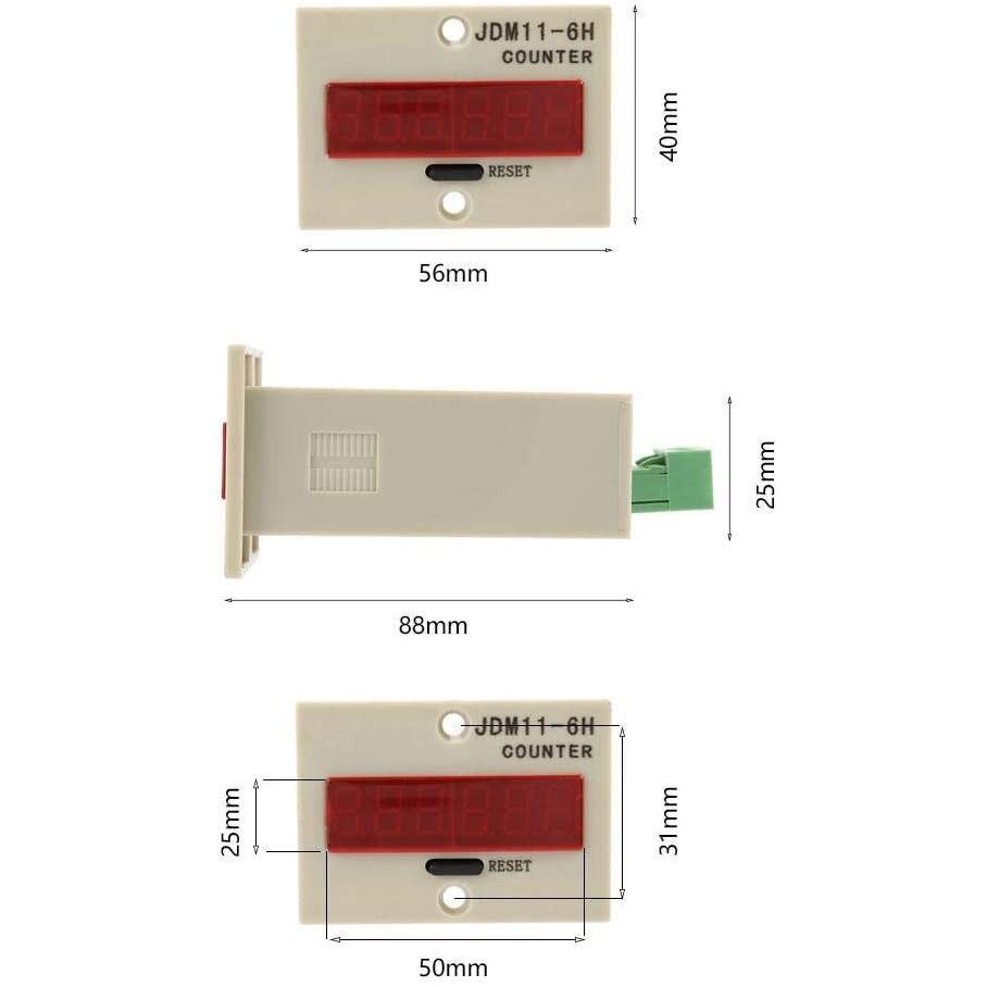 Электронный счетчик, цифровой светодиодный счетчик, электронный счетчик Jdm11-6h, светодиодный дисплей, панель, цифровой счетчик, общее напряж...