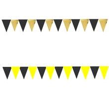 12 vlaggen Zwarte Goud Geel niet-geweven Verjaardag Bunting Banners Wimpel Baby Douche Bruiloft Guirlande Vlaggen Partij Decoratie Benodigdheden
