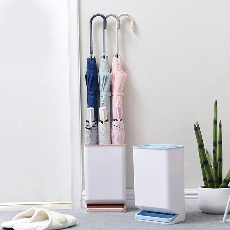 Soporte de sombrilla estante de plástico tipo suelo estante de almacenamiento nórdico Oficina vestíbulo almacenamiento cubo paraguas hogar soporte escurridor