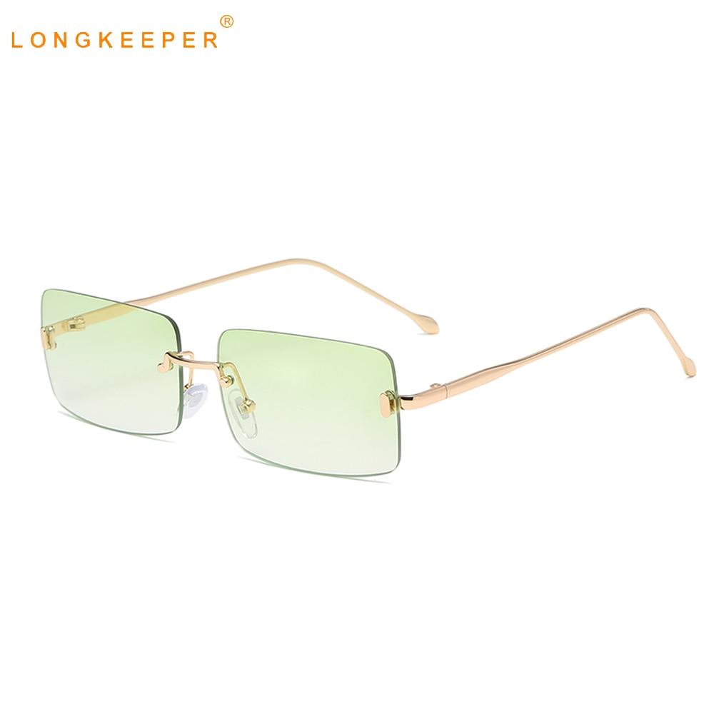 Солнечные очки LongKeeper в металлической оправе для мужчин и женщин, небольшие прямоугольные роскошные брендовые зеленые солнечные очки без оп...