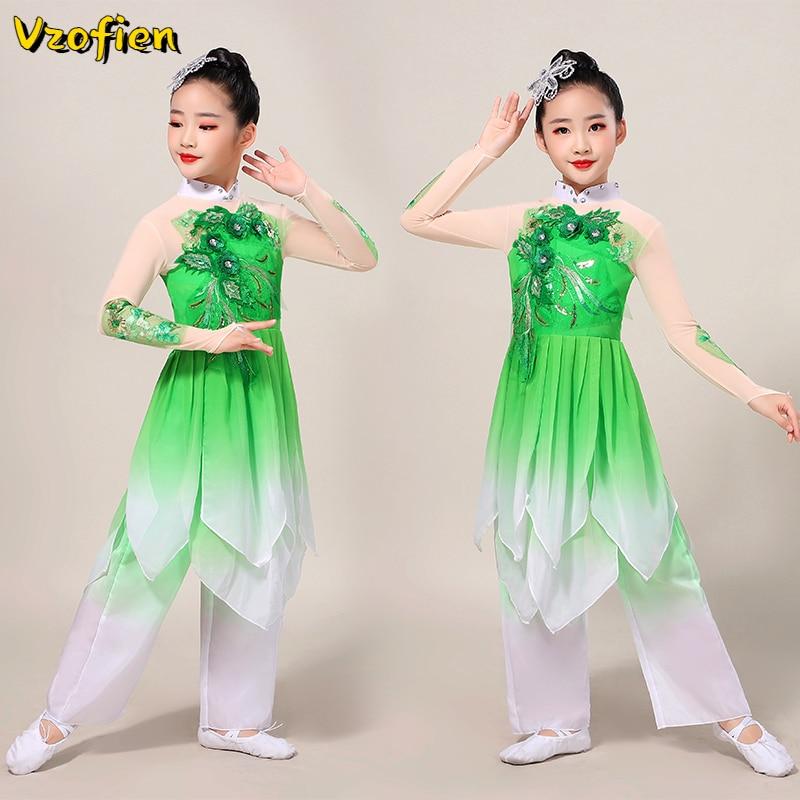 Одежда для девушек Yangko, костюм в старинном китайском стиле, танцевальная одежда ханьфу в классическом китайском стиле, танцевальная одежда ...