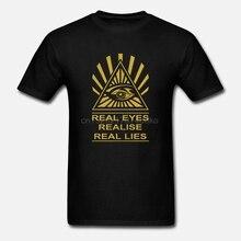 Real Eyes Realise Real Lies Mens T-Shirt Illuminati Conspiracy All Seeing Eye Summer Menfashion Tee Casual Short Sleeve TEE