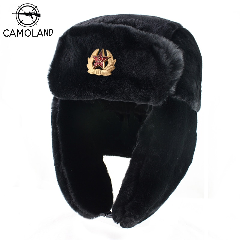 CAMOLAND Soviet Trapper Trooper Hat Mens Army Military Russian Ushanka Bomber Hat Winter Warm Caps P