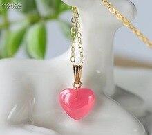 10mm naturel Rhodochrosite cristal pendentif collier pour femme hommes coeur perles argentine amour pierre 14K or chaînes bijoux AAAAA