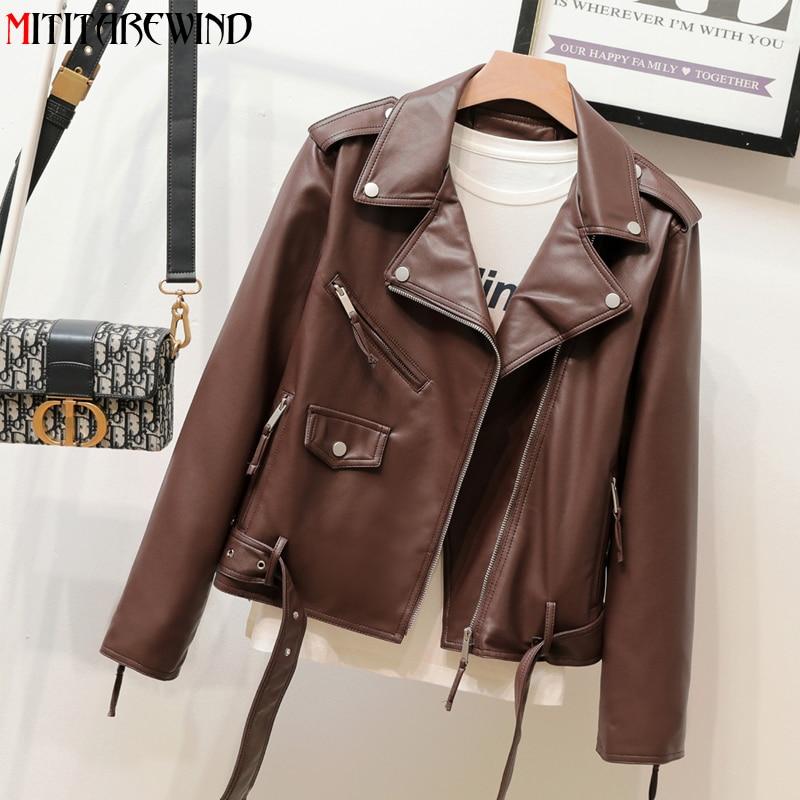 ربيع جديد لينة بولي Leather سترة جلدية المرأة الكورية موضة قصيرة نمط دراجة نارية سترة تعديل الخصر الخريف السائق معطف جلد