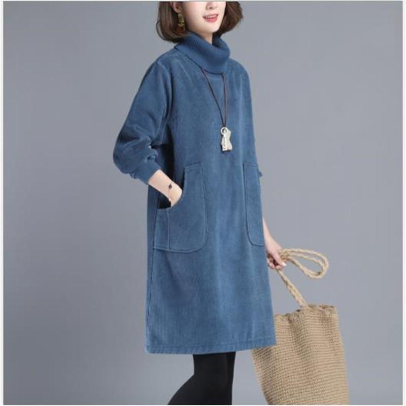 2019 Elegant Corduroy Women Dress Autumn Winter A-Line Mini Dress Lady Turtleneck Long Sleeve Warm Dress Big Pockets  M282