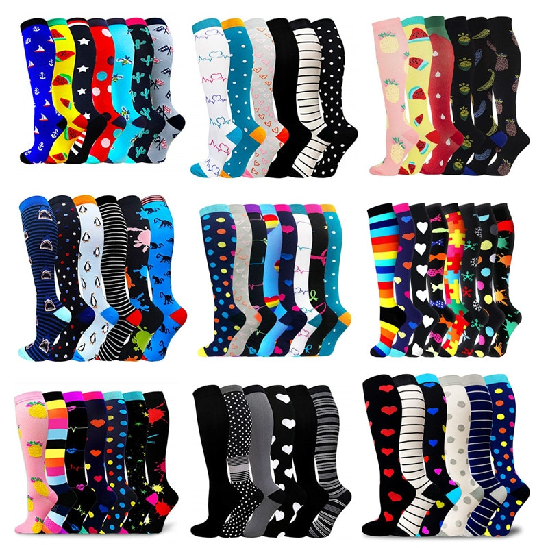 6 Pairs/Pack Compression Socks Women Men Knee High Sports Socks for Running Marathon Cycling Edema Diabetes Varicose Veins Socks