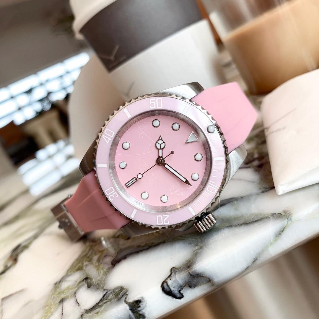 Diameter 38mm Thick 10mm Luxury Pink Premium Replica Pink Water Ghost Lady Watch Quartz Watch Luxury Ladies Rubber Strap enlarge
