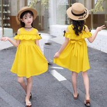 Girls Dresses 2020 Summer Children Fashion Dress Girls Clothes Off-the-shoulder Solid Summer Girls Dress 4 6 8 9 10 11 12 Years