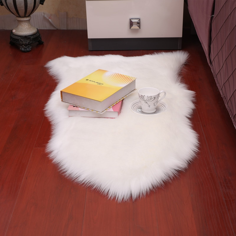 Sholisa Shaggy Shag Floor Area Rugs Faux Fur Sheepskin 6cm Pile Fluffy Carpet for  Living Room Bedroom Home Deco 65x102cm