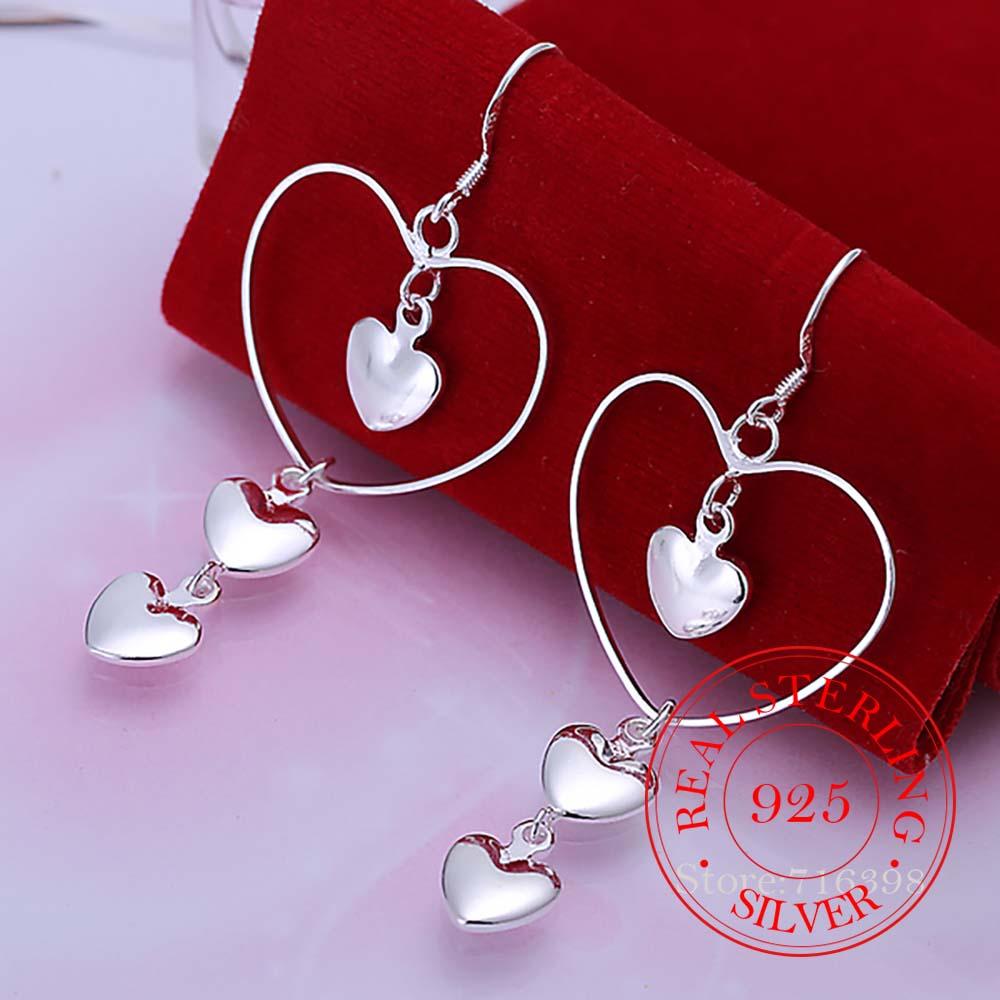 AliExpress - Korean 925 Sterling Silver Romantic 3 Solid Heart Vintage Long Tassel Dangle Earrings For Women 2020 Engagement Wedding Jewelry