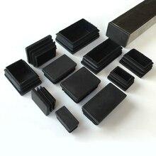 Tapones Rectangulares de plástico negro, insertos de tubo, tapón de acero para patas de 10x20mm ~ 30x100mm, 2/5/10 Uds.