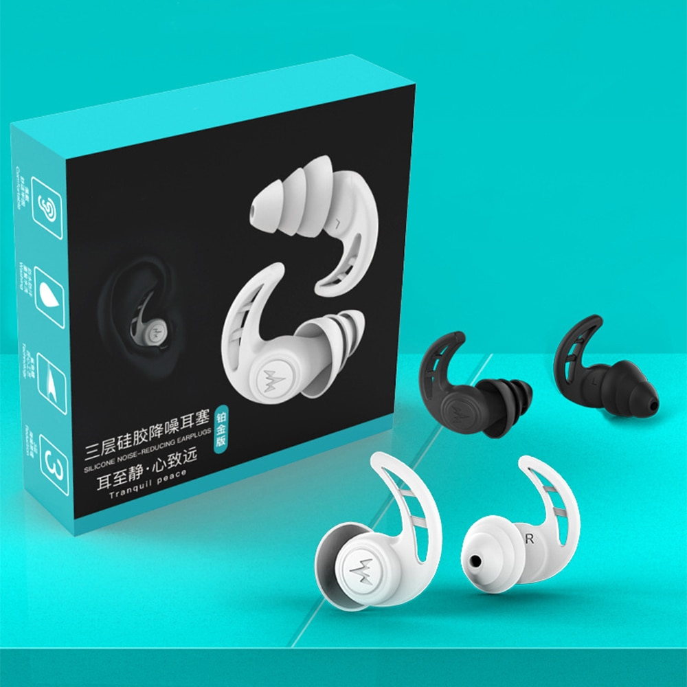 беруши fashy silicon ear plugs for self forming 2Pcs Soft Silicone Ear Plugs 3 Layer Tapered Sleep Noise Reduction Earplugs Ear Protection Earplugs Anti-Noise Plugs for Travel