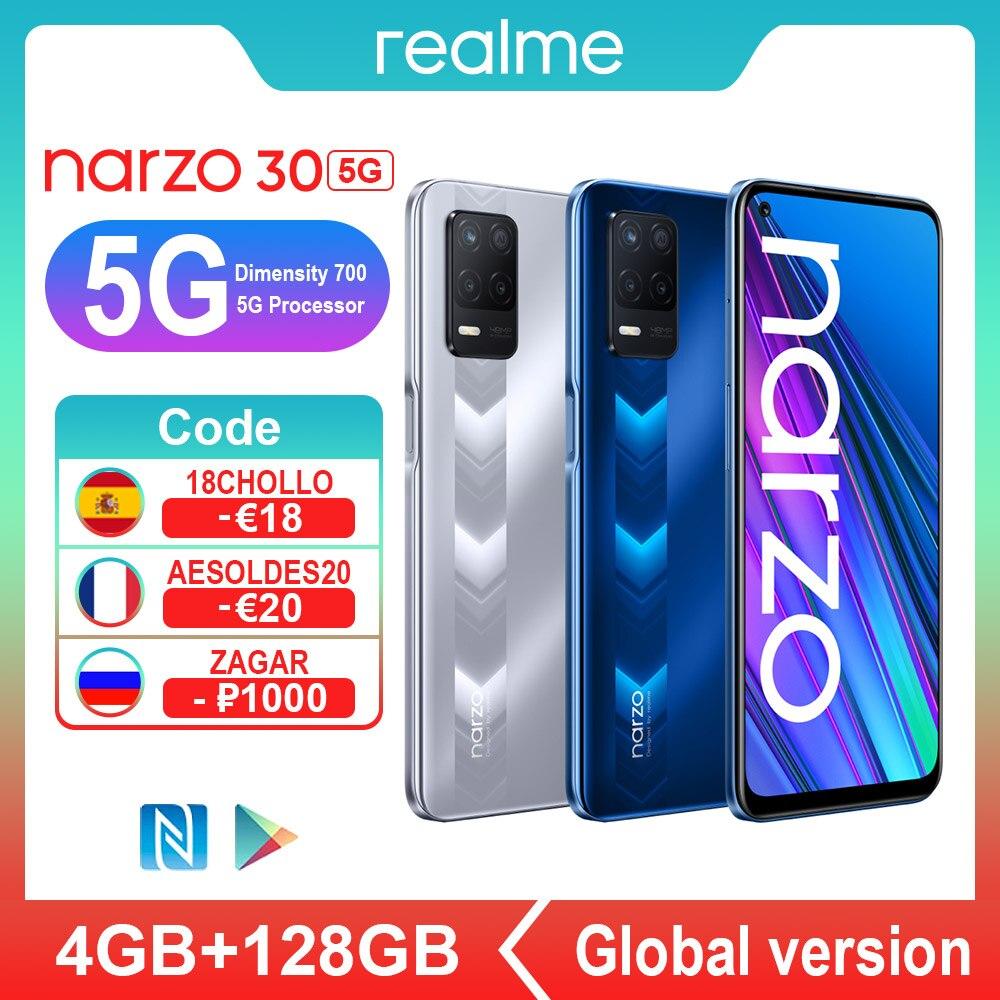 Промо код :【6000₽-600₽REKAX】【LOVE】【ZAGAR】【COOL】【BEACH】【ZHARA】 Realme Narzo 30 5G NFC смартфонов 4 Гб Оперативная память 128 Гб Встроенная память Dimensity 700 48MP 5000 м...