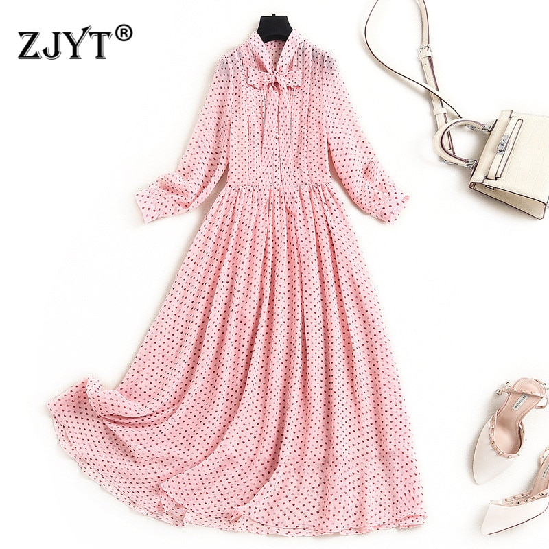 فستان شيفون حريري بأكمام طويلة ، ملابس نسائية أنيقة ، ياقة فيونكة ، ثوب ناعم متوسط الطول ، مصمم أزياء الربيع