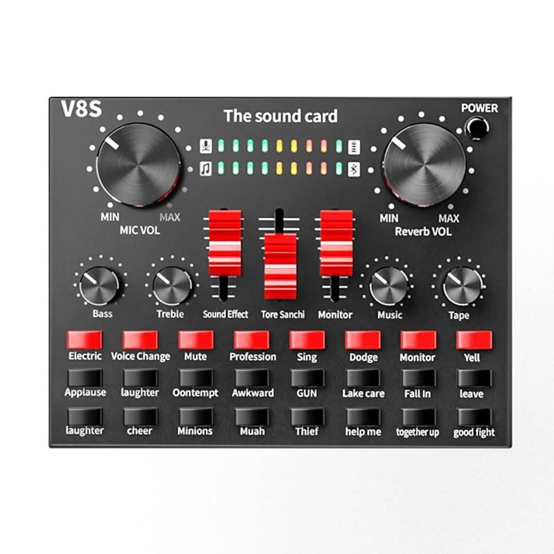 بطاقة صوت بث مباشر احترافية ، بلوتوث ، واجهة USB ، خلاط DJ ، صوت لتسجيل الميكروفون ، جيتار