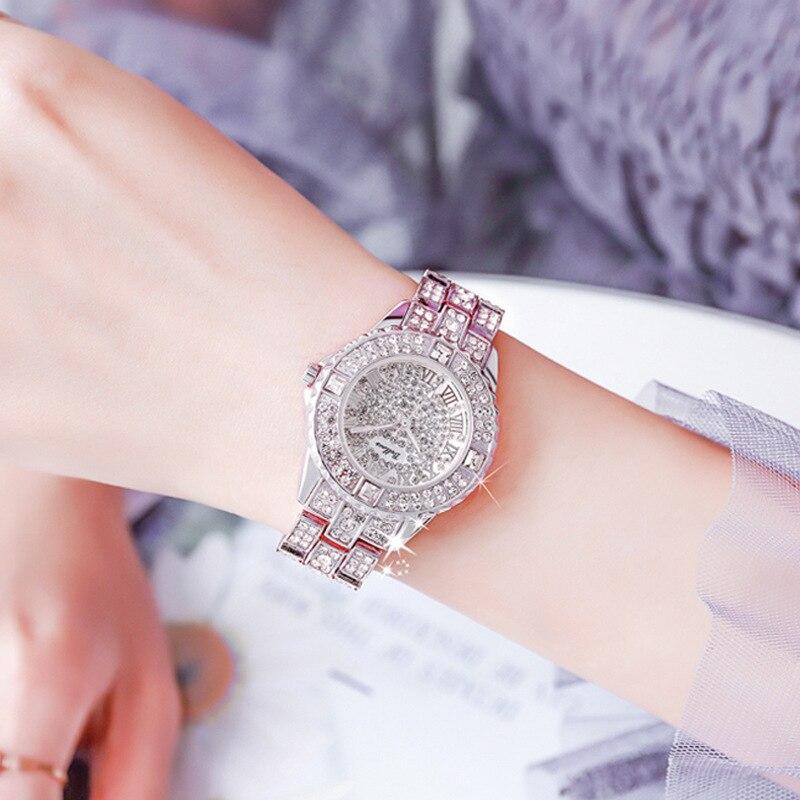 Luxury Women Watches Fashion Rhinestone Gold Watch Austria Crystal Ceramic Watches Female Quartz Wristwatches Lady Dress Watch enlarge