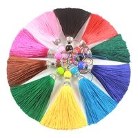 25pcs 8cm silk tassel with acrylic beads fringe brush tassels trim pendant for crafts diy jewelry finding key chain accessories
