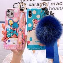 Para iphone 11 pro Max My Melody correa de muñeca suave funda de teléfono para iphone XR XS max X 8 7 6 plus azul Rey perro cáscara + correas