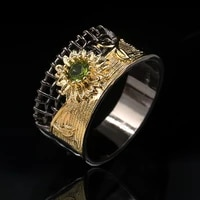 trendy chrysanthemum pattern bohemian crystal inlaid ring womens ring fashion metal black golden ring accessories party jewelry