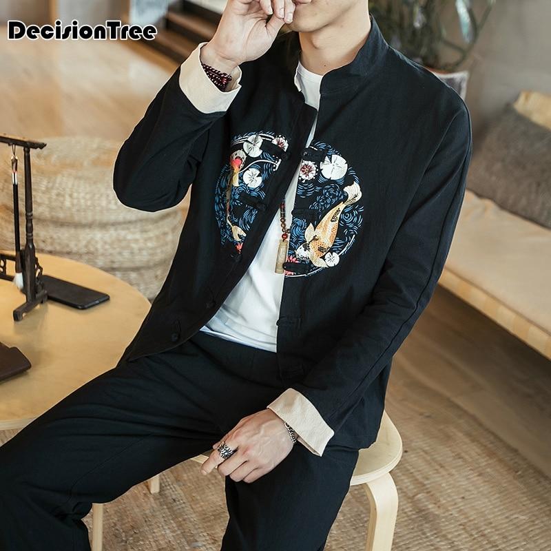 2020 hombres tang traje chino tradicional ropa para hombres, pantalones de Hombre Camisas oriental cheongsam tang superior kung fu collar