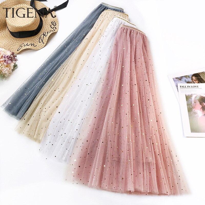 TIGENA moda brillante lentejuelas tul falda mujeres 2020 verano largo Maxi falda femenina coreana A-line Falda plisada de cintura alta