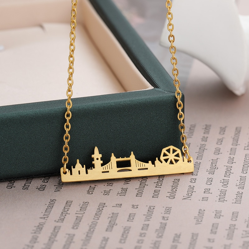 Vintage London Skyline Necklace Stainless Steel Link Chain Gold Color UK City State Pendant For Women Best Friend Gift Jewelry