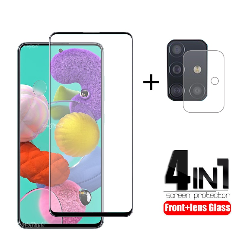 4-in-1 For Samsung Galaxy A51 Glass For Samsung M21 Tempered Glass Full Glue Screen Protector For Samsung A52 A51 A71 Lens Glass
