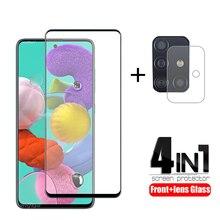 4-en-1 pour Samsung Galaxy A51 verre pour Samsung M21 verre trempé pleine colle protecteur décran pour Samsung M31 A51 A71 verre dobjectif