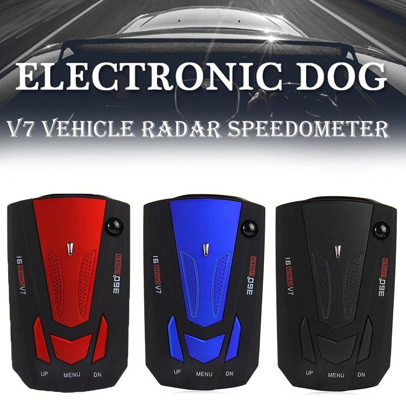 16 Band Auto V7 Overspeed aviso por voz alarma avisos Alerta temprana StationaryCar Detector 360 grados móviles detectores de velocidad